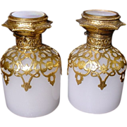 PAIR Palais Royal White Opaline Scent Bottles Dripping in Gilt Ormolu   and  Luscious Mother of Pearl Tops.