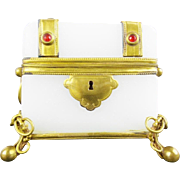"Antique French Jeweled Opaline Casket Hinged Box ""Killer Bow Tied Ball Footed Base"""