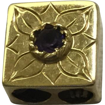 14KARAT Engraved Flower Amethyst Slide For Add A Slide Bracelet