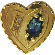 14KARAT Diamond and Blue Topaz Heart Slide For Add A Slide Bracelet