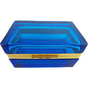 "Antique French Cobalt Blue Crystal Hinged Box  ""BEAUTIFUL"""
