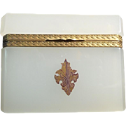 Antique French Opaline Hinged Box 'CREAMY WHITE OPALINE""