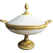 "13 ½"" Antique French Covered White Opaline Bowl "" Magnificent Dore' Bronze Double Handle"""