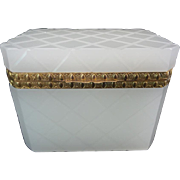 "Antique  White French  Opaline Casket"" Diamond Crisscross Cut Design &  Exquisite Gilt Bronze Mounts"""