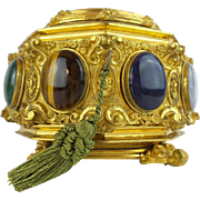 "Antique French Jeweled Dore' Bronze Hinged Box.  ""Eight Large Semi Precious Cabochons"""
