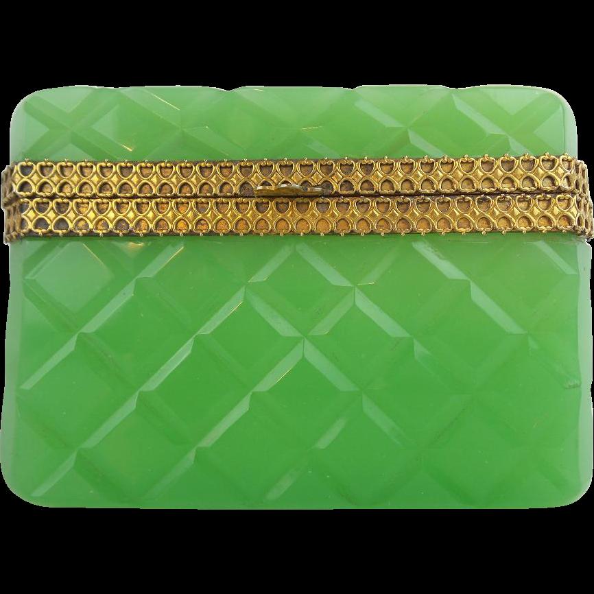 "Antique Green Opaline Casket Hinged Box ""RARE Green & Beautiful Ornate Mounts"""