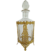 "7"" Antique French Crystal Gilt Ormolu Perfume  ""Magnificent  Footed Gilt Ormolu & Big Cut Crystal Stopper"""