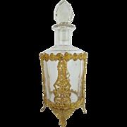 "7"" Antique French Crystal Gilt Ormolu Perfume  ""Magnificent  Footed Gilt Ormolu & Big Cut Crystal Stopper"""