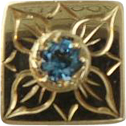 14KARAT Engraved Flower Blue Topaz Slide For Add A Slide Bracelet