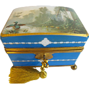 "7"" Beautiful Antique French Opaline Double Handle  Hinged Box ""Lush Garden View with Ducks """