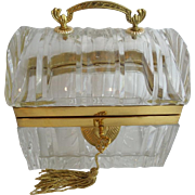 "Magnificent Antique French Crystal Casket ""DOME TOP w HANDLE"""