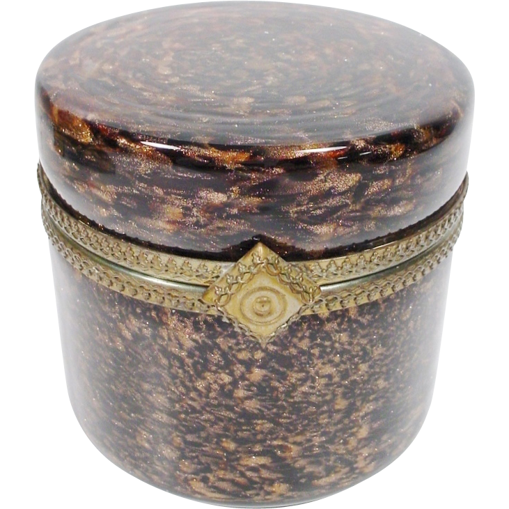 HUGE Vintage Murano Round Brown  and Bronze Hinged Box