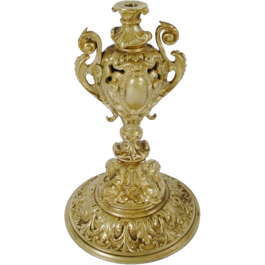 "Antique French  9"" Fancy Bronze Dolphin Stand Base."