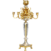 "Glorious 24"" French Bronze Crystal   Seven Light Candelabrum"