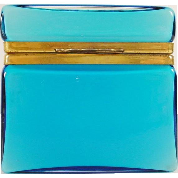 """Antique Blue Glass Casket  Hinged Box """"FABULOUS"""""""