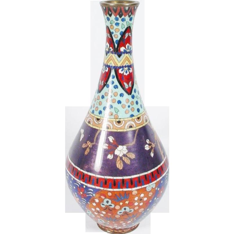 """Fabulous 12"""" Japanese Cloisonné Enamel Vase"""