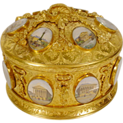 "Magnificent Antique Bronze Oval Casket Hinged Box ""16 Grand Tour Miniatures"" - Red Tag Sale Item"
