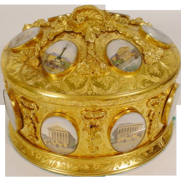 "Magnificent Antique Bronze Oval Casket Hinged Box ""16 Grand Tour Miniatures"""