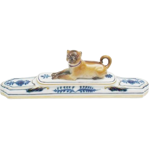 Antique Meissen Porcelain Pug