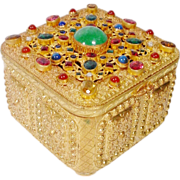 "Antique Austrian Jeweled Hinged Box""FABULOUS GEM FEET"""