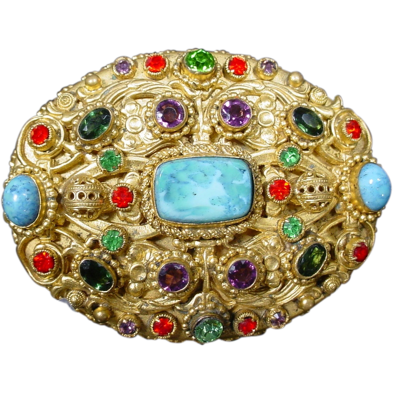 Exquisite Antique Jeweled Austrian  Oval Box