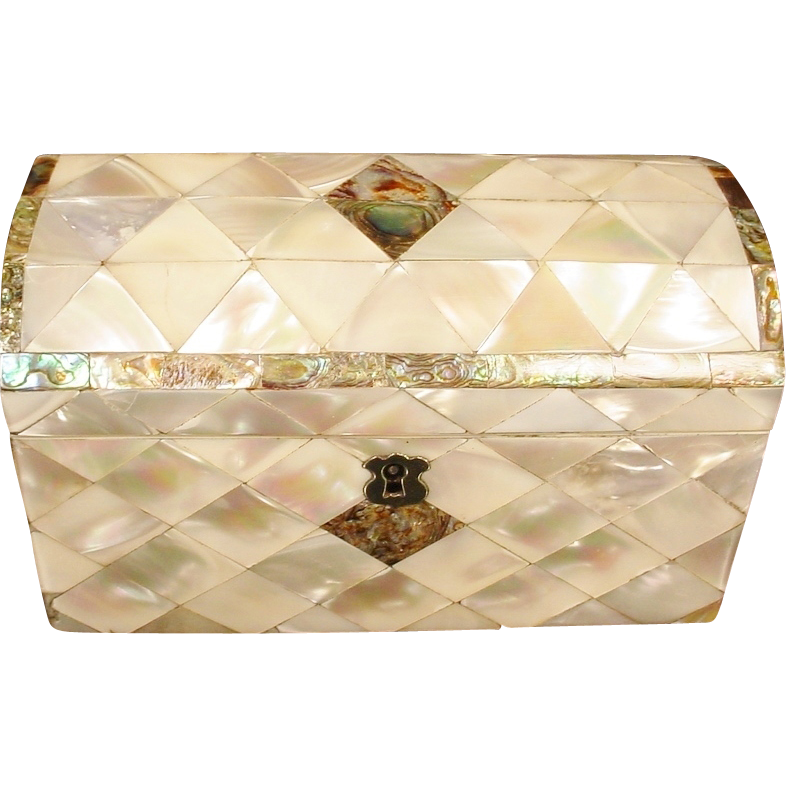 Antique Dome Top Mother of Pearl and Abalone Hinged Box
