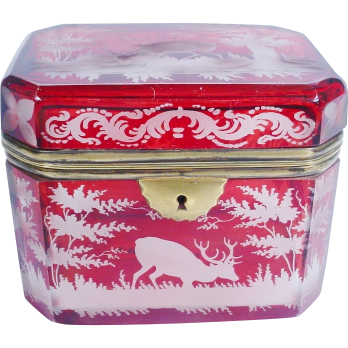 "Beautiful Antique Bohemian Ruby Hinged Box ""with ANIMALS"""