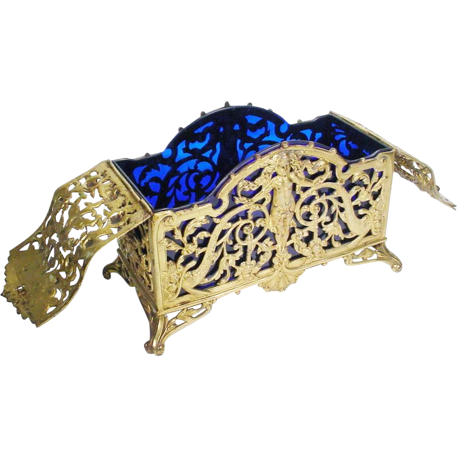 "10 ½"" Antique French Bronze Cobalt Hinged Box ""Putti and Dolphins"""