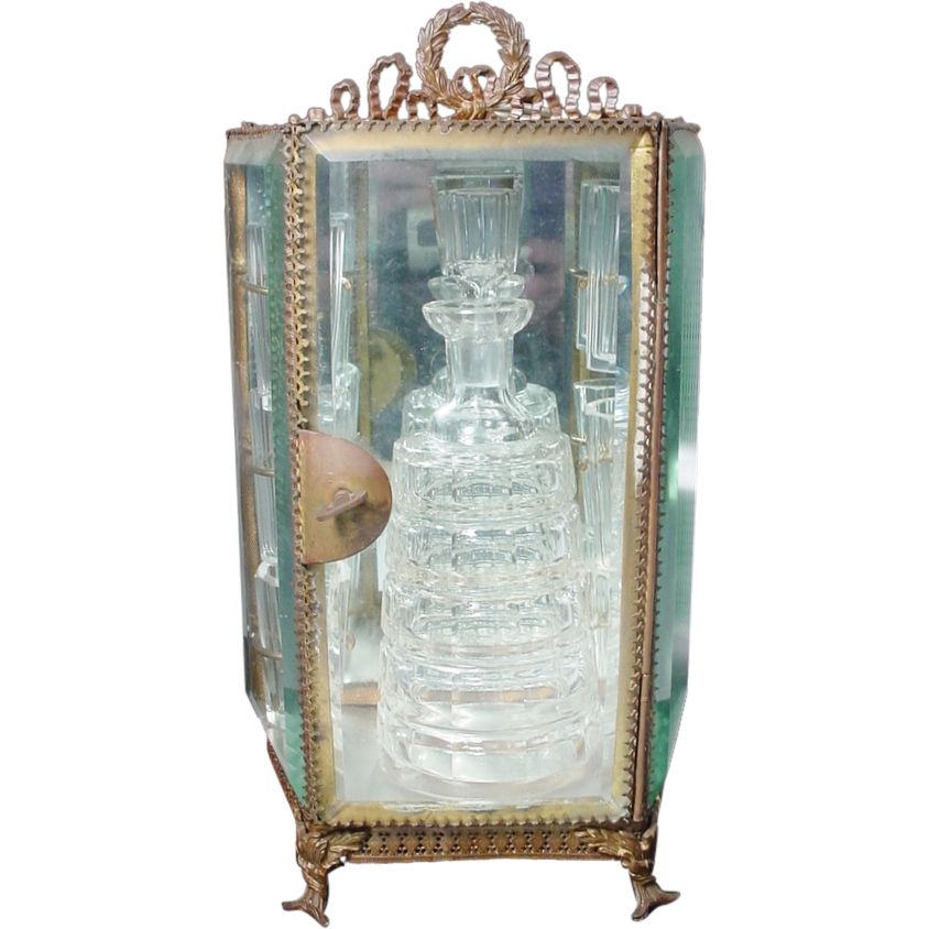Antique French Miniature Cave de Liqueur Vitrine