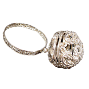 "Grandest English Silver Bracelet Yarn Holder   "" CIRCA 1880""  A MASTERPIECE"