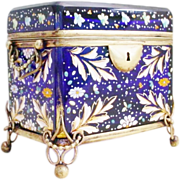 "VVV Grandest Antique  Moser Cobalt Double Sugar Caddy ""THE BEST!"""