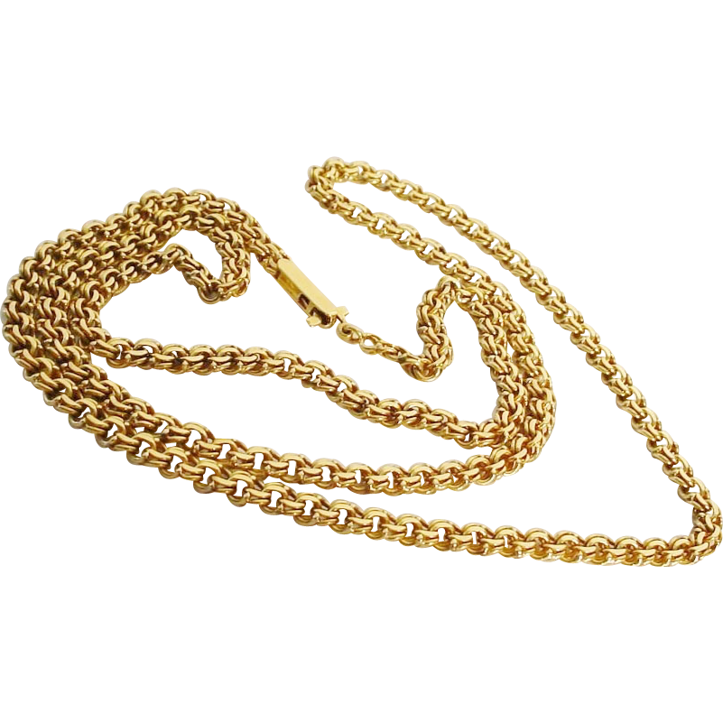"""Grandest  26""""  Double Link Chain Necklace 18KARAT"""