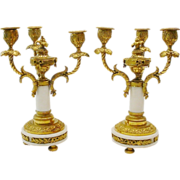 LAYAWAY PAIR  Antique French Dore' Bronze  and White Marble Candelabras