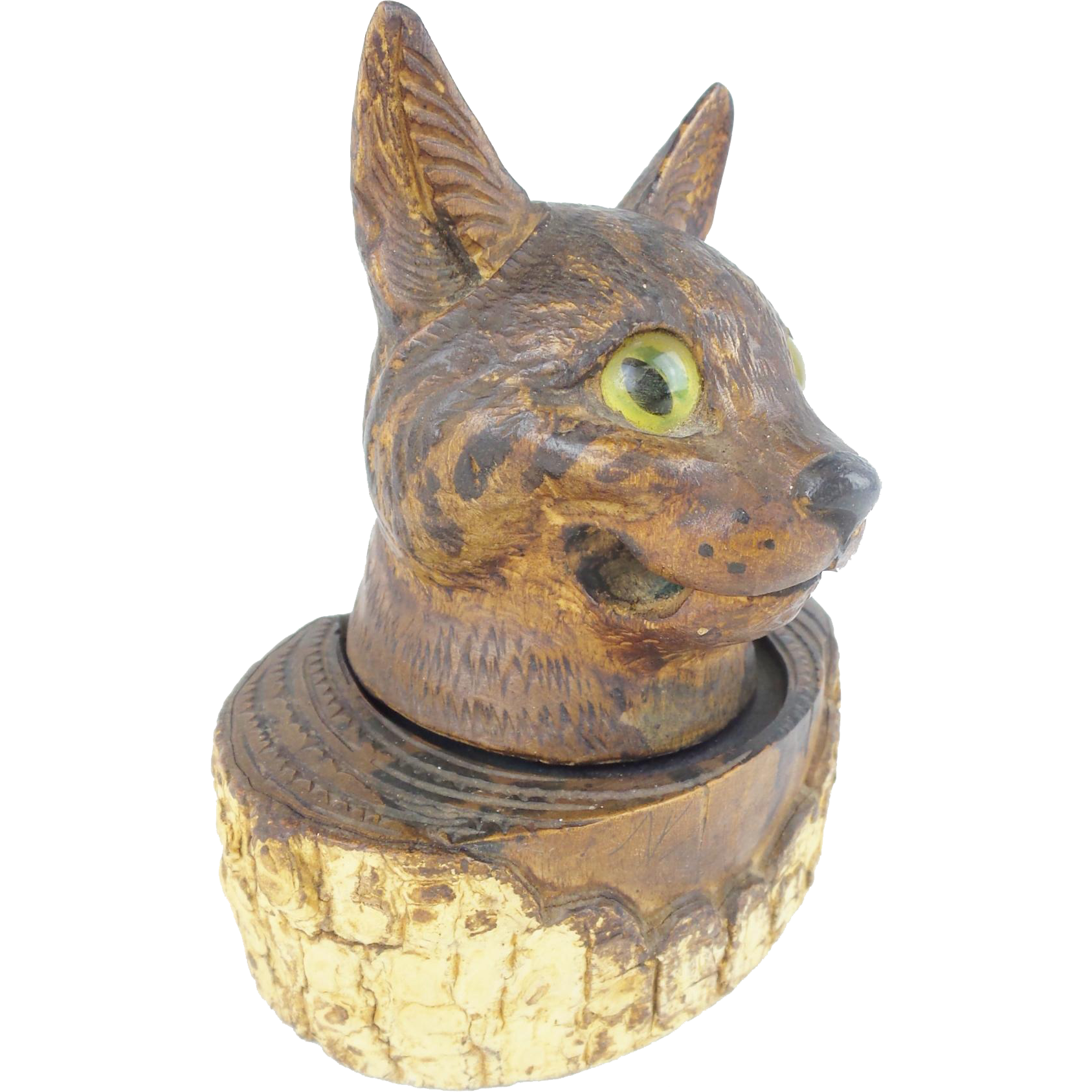 "Folk Art ""Glass Eyes"" Cat Inkwell w Pen Holder"