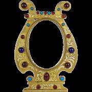 "9 ½"" Antique Austrian Bronze Jeweled Enamel Table Top Frame"