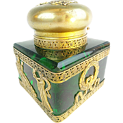 """Antique French Empire Large Green Inkwell """"Wrapped in Gilt Ormolu"""""""