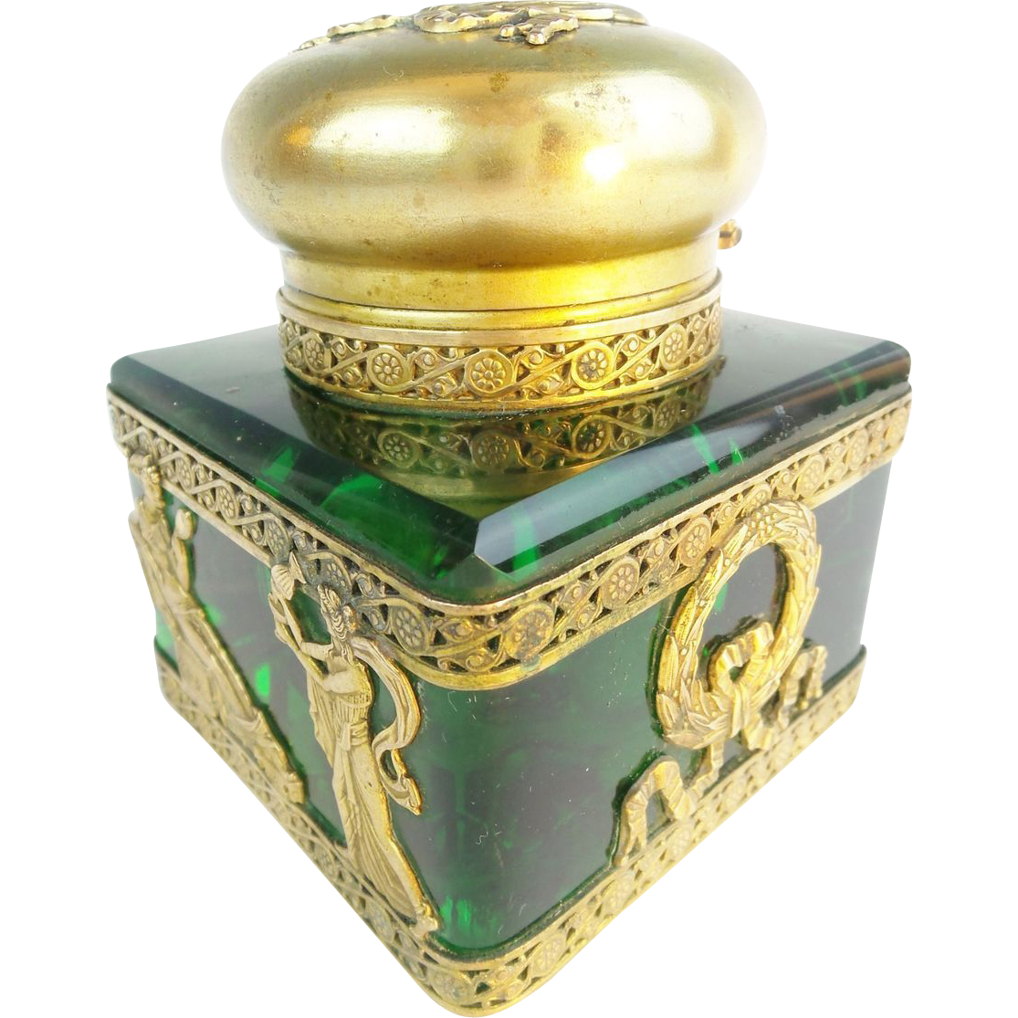 "Antique French Empire Large Green Inkwell ""Wrapped in Gilt Ormolu"""