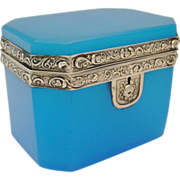 """Antique French Blue Opaline Casket Hinged Box """"Silver Mounts"""""""