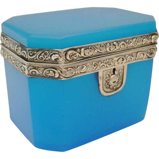 "Antique French Blue Opaline Casket Hinged Box ""Silver Mounts"""