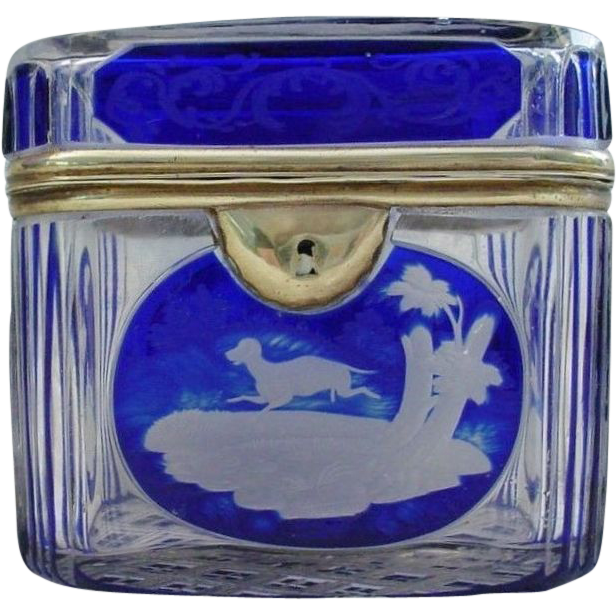 "Bohemian Cobalt Cut to Clear Casket Hinged Box.""Dog, Fox,Quail"""