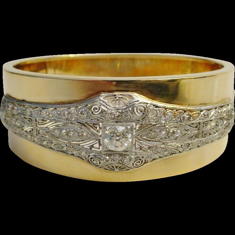 Majestic Diamond Platinum and 14K Bangle Bracelet