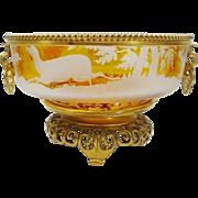 "RARE Antique Bohemian Centerpiece Bowl...Awesome Amber ""EXQUISITE"""