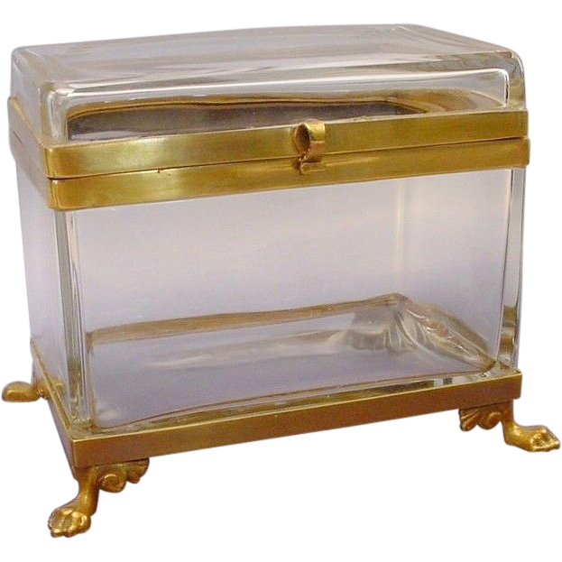 "Antique French Crystal Hinged Box  "" Paw Feet"""