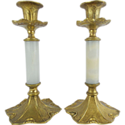 "Antique Onyx and Bronze Candlestick""PAIR"""