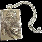 "Antique 800 Silver ""TWIN CATS"" Compact Purse w Ruby Eyes  ""Original Presentation Box"