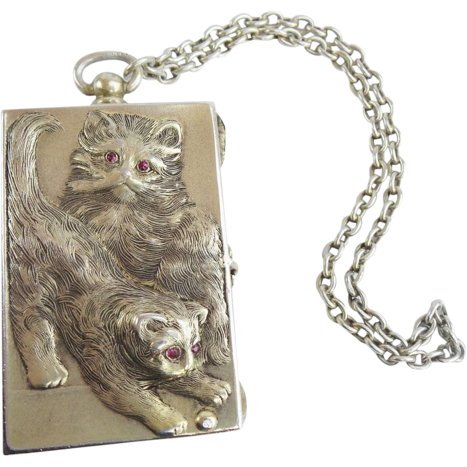 "Antique 800 Silver ""TWIN CATS"" Compact Purse w Ruby Eyes  ""Original Presentation Box"