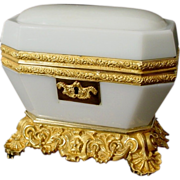 "Antique Baccarat White Opaline Casket ""MAGNIFICENT"""