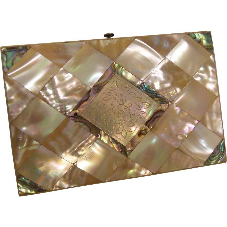 LAYAWAY. Antique Mother of Pearl and Abalone Card Case