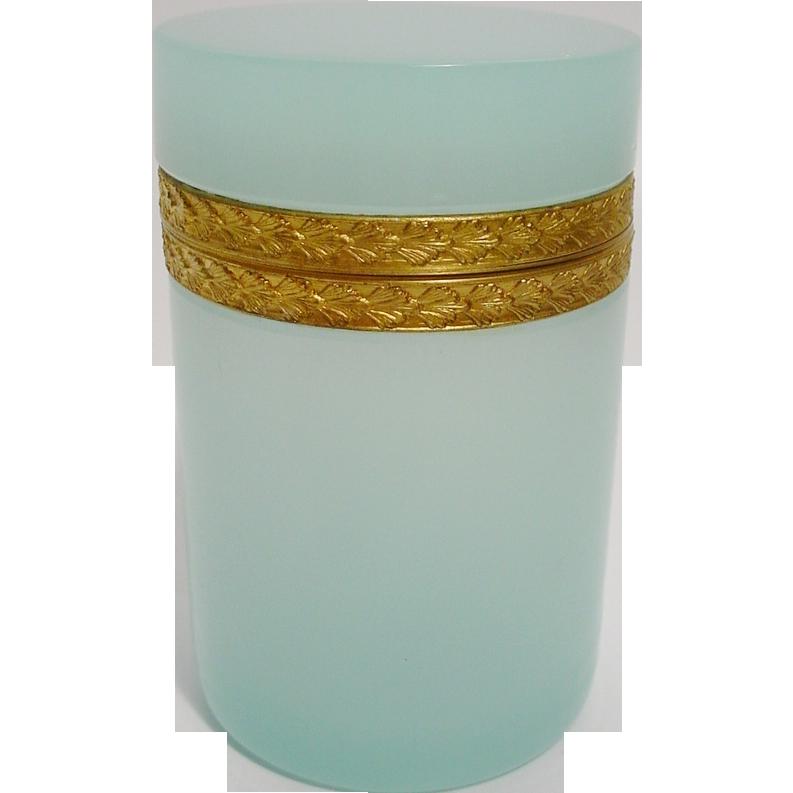 "Antique French Tall Opaline Hinged Box ""RARE AQUA"""