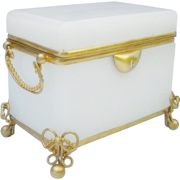 "Antique French White Double Handle Casket Hinged Box ""GRANDEST"""